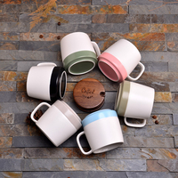 350ML Brief More Style Frosted Ceramic Double Color Mugs Wiht Wooden Cover Spoon Kit Drinkware Cafe