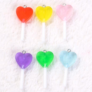 Jewelry Lollipop Charms Candy-Accessories Glitter Heart-Shape Transparent Custom-Made