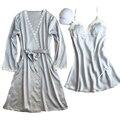 Лучшие продажи одеяние sexy vestidos de renda сорочка de nuit халат + sleepdress пеньюары женщины длинный шелковый халат и платье набор подарков