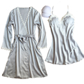 best selling robe sexy chemise de nuit vestidos de renda bathrobe + sleepdress peignoir women long silk robe & gown set gifts