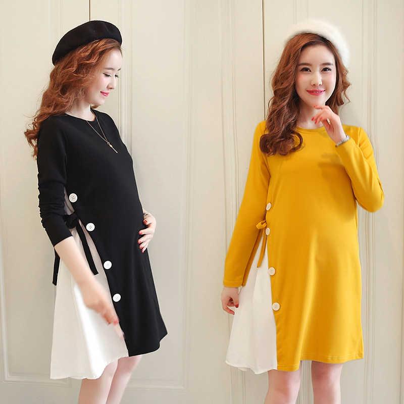 f0413e5cc28f4 Make maternity winter fashion maternity dress Irregular patchwork lax  pregnant women dress