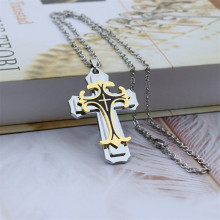 High Quality Religious Alloy Cross Pendant Necklace Multilayer 2 Tone Cross Jewelry 2019 Jesus Necklace For Men(China)