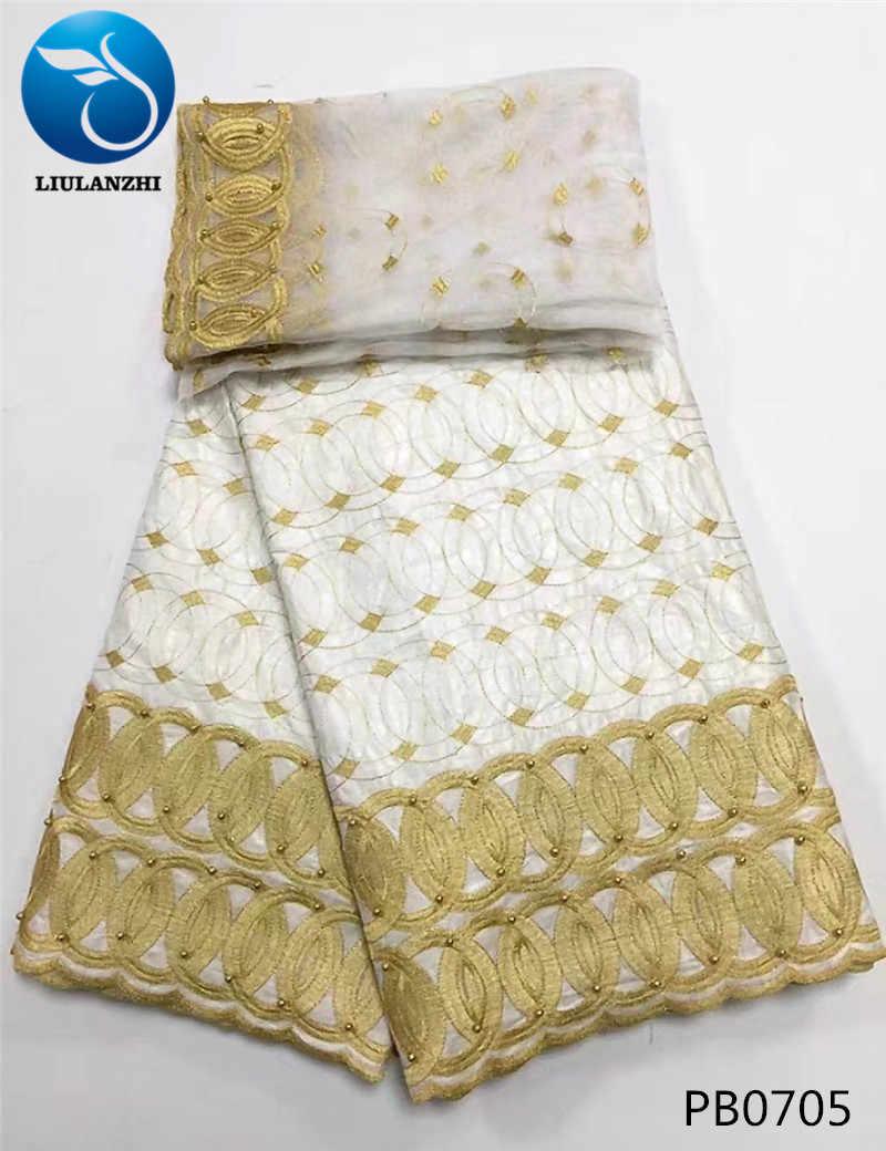 LIULANZHI Небесно-Голубой Базен riche ткань нигерийский broderie ткань с бисером вышивка Французский Чистая кружево 7 ярдов/партия для платья PB07