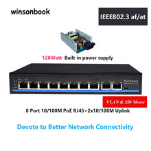 8 Port  PoE switch Ethernet with standard PoE 48V  IEEE 802.3 af/at Suitable for IP camera/Wireless AP/CCTV camera system