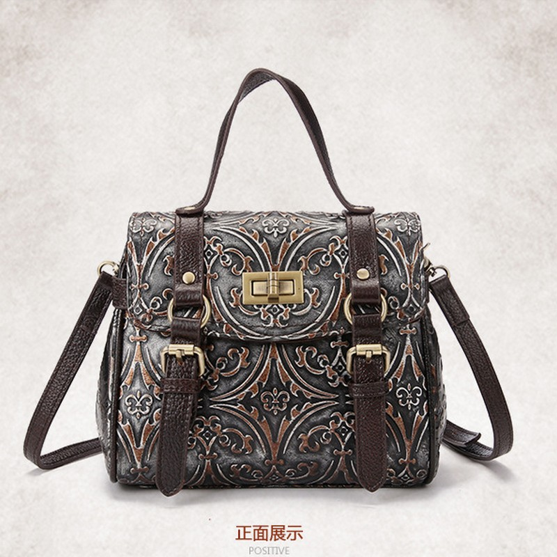 Genuine Leather Bags Ladies Real Leather Bags Women Handbags High Quality Tote fashion Embossed  Bag for Women aosbos fashion portable insulated canvas lunch bag thermal food picnic lunch bags for women kids men cooler lunch box bag tote