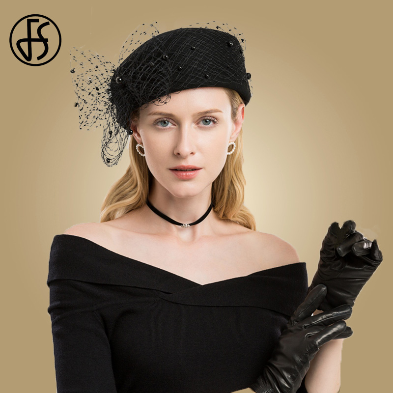FS Fascinators Black Wool Pillbox Wedding Hats For Church Women Elegant Red  Ladies Church Hat Winter Felt Fedoras 715f02e59f5b