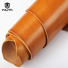 WUTA Waxed Veg Tanned Leather Handmade DIY First Layer Leather Piece Finished Full Grain Leather Material Drum Dye-6Color Choose(China)