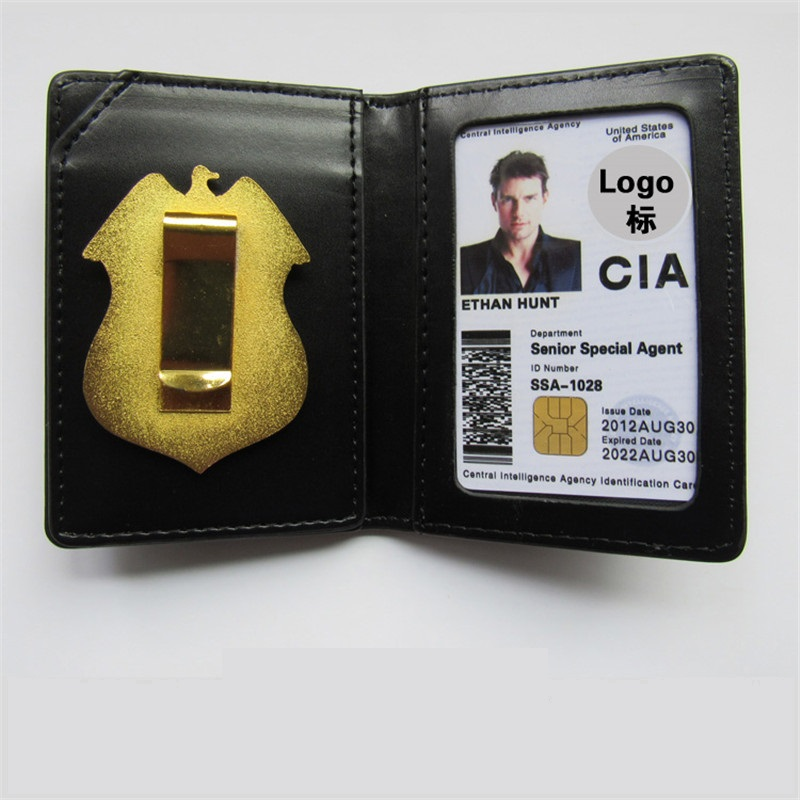 United States CIA Special Agent Badges Leather Case Holder ID Card Driving Wallets Holder Gift Cosplay Collection