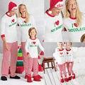 Otoño Invierno Navidad Adulto Mujeres Hombres Familia A Juego de manga larga carta Tops de rayas + pantalones ropa de Dormir ropa de Dormir Pijamas Set