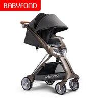 2 в 1 детская коляска высокотехнологичный Светодиодный прожектор Роскошная детская коляска одна кнопка может сидеть и лежать легкие складн