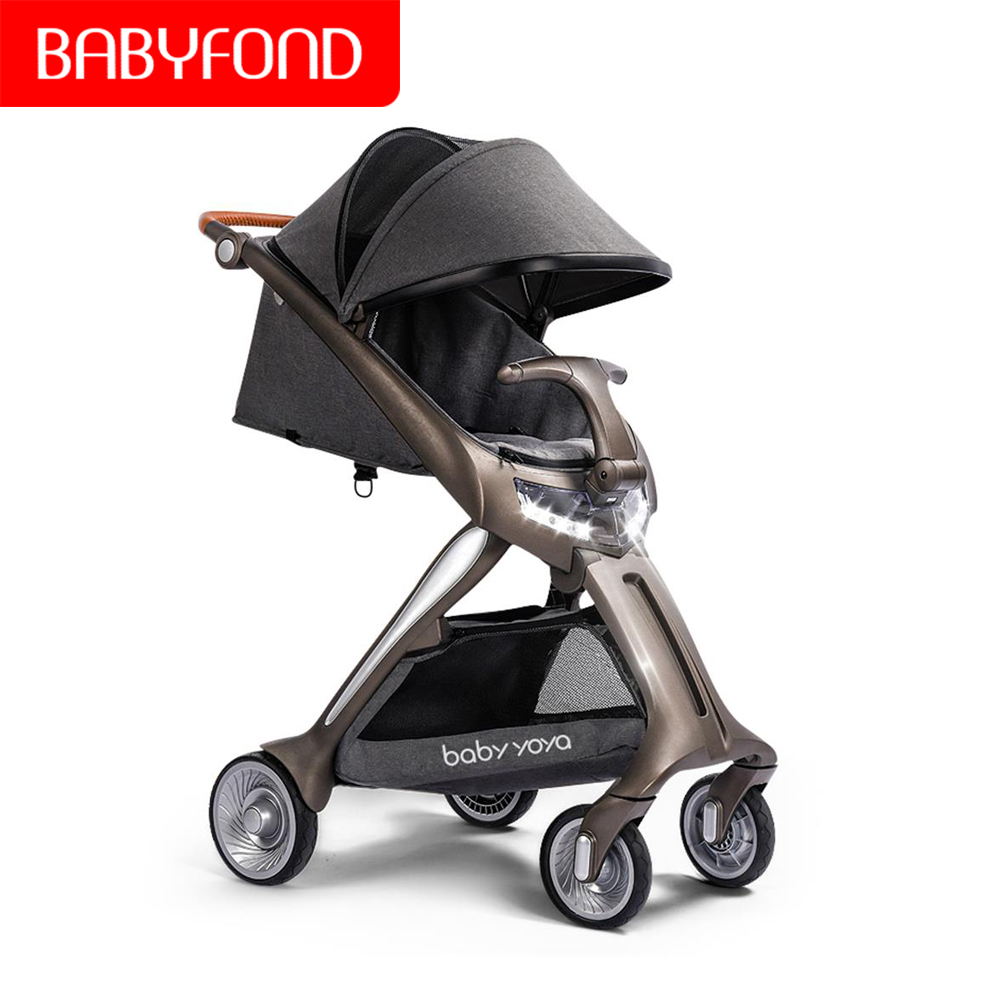 2 In 1 Baby Stroller High-tech LED Searchlight Luxury Baby Stroller One-button Can Sit And Lay  Light Fold Four Wheels Baby Pram