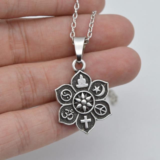 Silver Lotus Tibetan Pendant Necklace