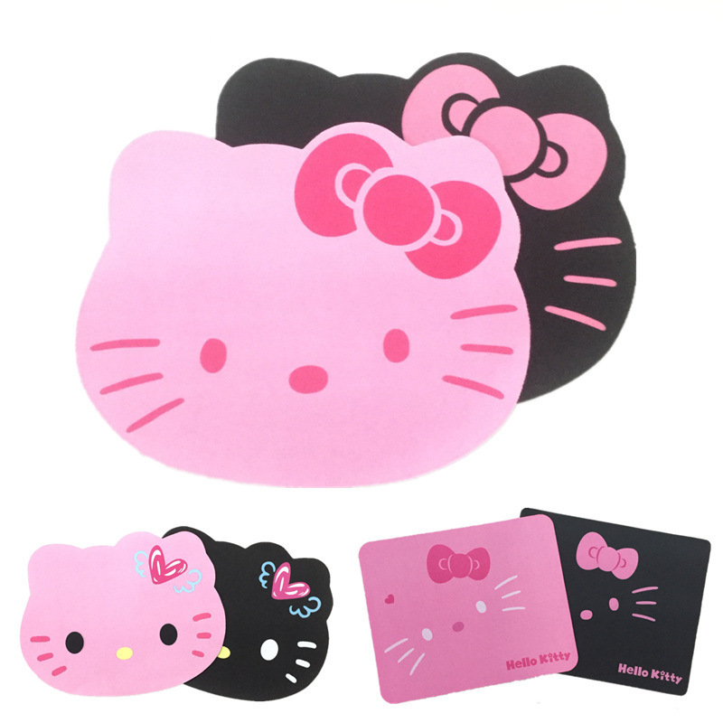 GIAUSA Hello Kitty Cute Computer Mouse Pad Anti-slip Natural Rubber MousePad Pink Black Color For PC Laptop Wholesale Price