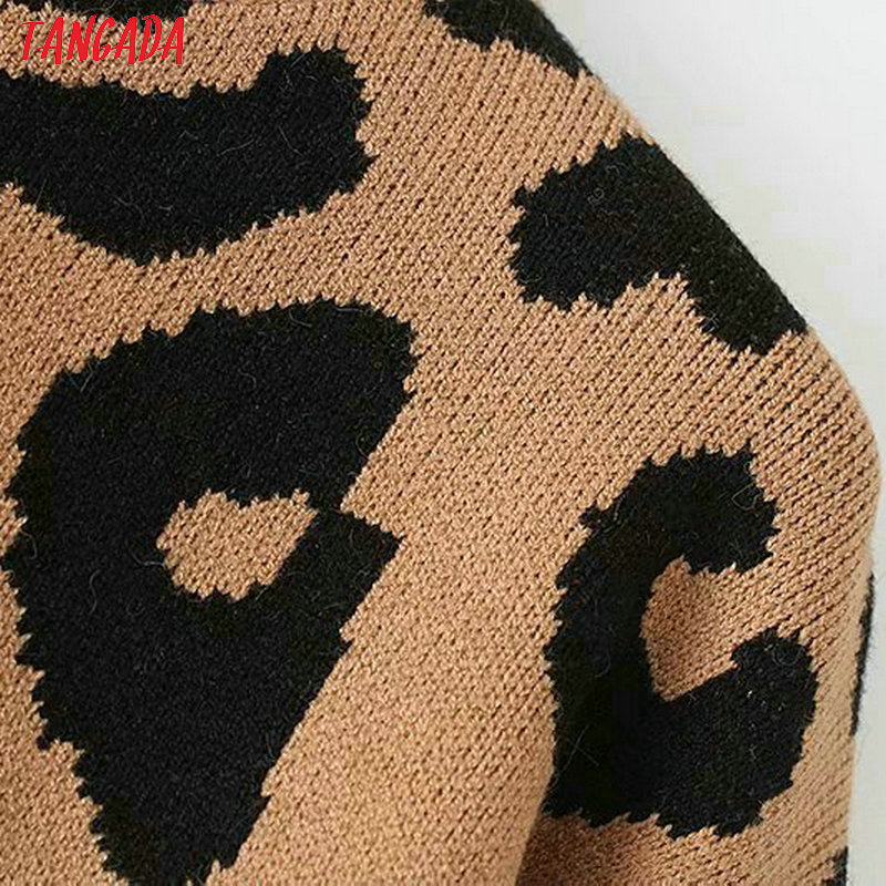 leopard knitted sweater animal print winter thick casual tops