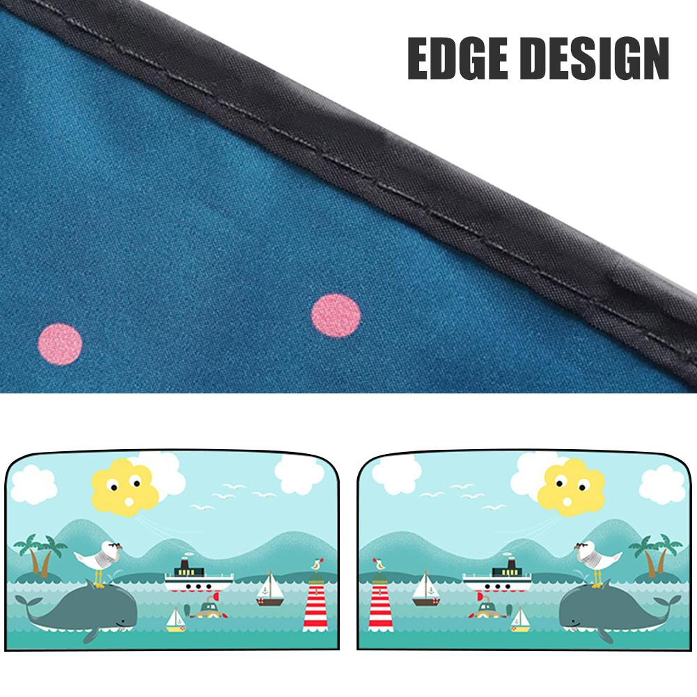 Image 5 - 2pcs Magnetic Car Sunshade Car Sunscreen Insulation Magnet Sun Shade Retractable Curtains Rear Row Cartoon Window Shade-in Side Window Sunshades from Automobiles & Motorcycles
