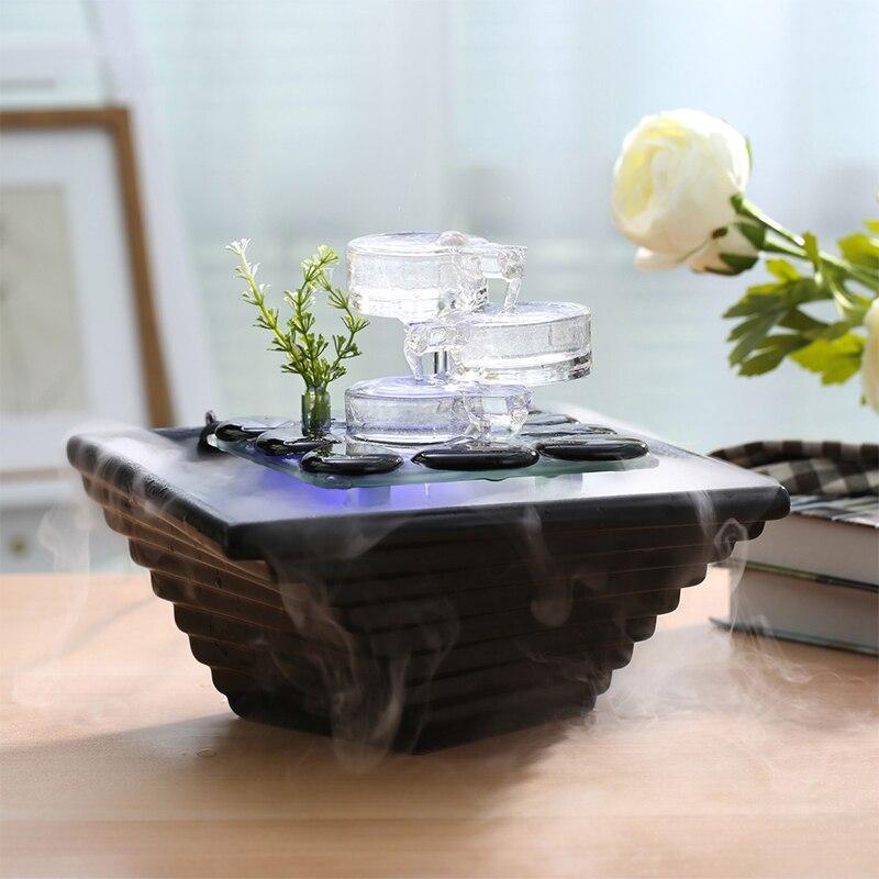 110 240V Modern LED Water Fountain Wedding Ornament Desktop Air Humidifier Atomizer SPA Essential Oil Diffuser Bonsai Home Decor