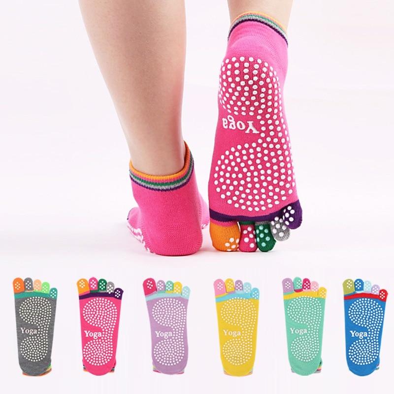 <+>  Yoga Socks 1 пара Женщины Полный Массаж Пальцев Резина Фитнес Теплые Носки Тренажерный Зал Dance Spo ✔