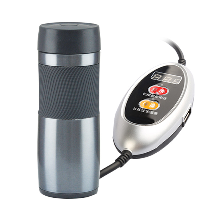 Stainless Steel Car 12/24 Volt Interchangeable Electric Heat Insulation Cup Portable Travel Coffee Mug Automatic Power Off - 2