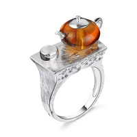 LARGERLOF 925 Sterling Silver Ring Natural Amber Ring Handmade Silver 925 Jewelry Vintage Rings For Women RG3555