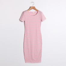 Summer Women Dress Casual Slim Sheath Dresses Round Neck Striped Dress Short Sleeve Bodycon Dresses LJ4862R