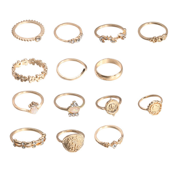brixini.com - Jara™ Vintage Stone Hollow Flower Ring Set 14PCS/Set