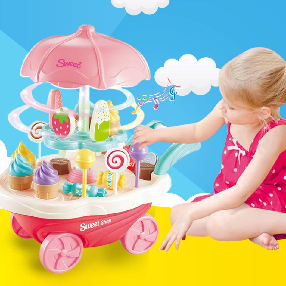 Очень забавные игрушки мини-конфеты мороженое автомобиль с легкой музыки для подарки для девочек розовый Развивающие мягкие Монтессори ин...