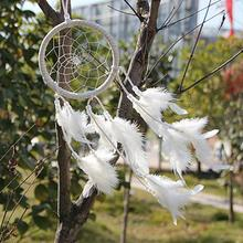 Pure white Dream Catcher Circular Net With feathers Wall Hanging Decoration tool Decor Wind Chime Craft