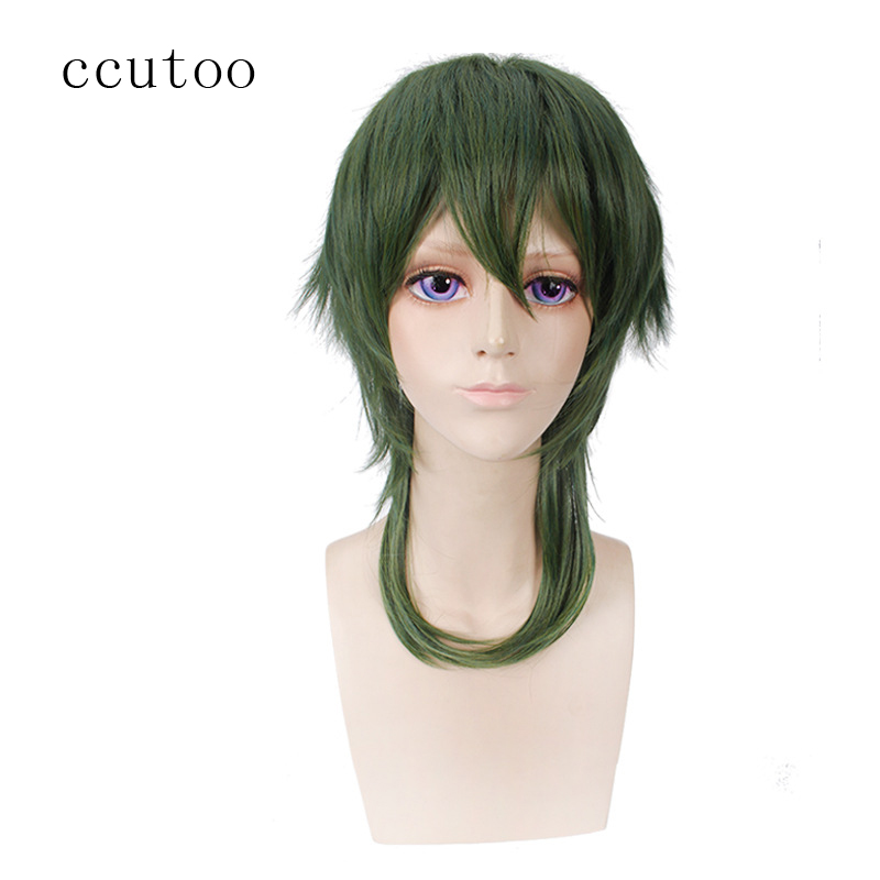 ccutoo Short Green Layered Fluffy M Shape Synthetic Hair Cosplay Full Wigs for Halloween Partys