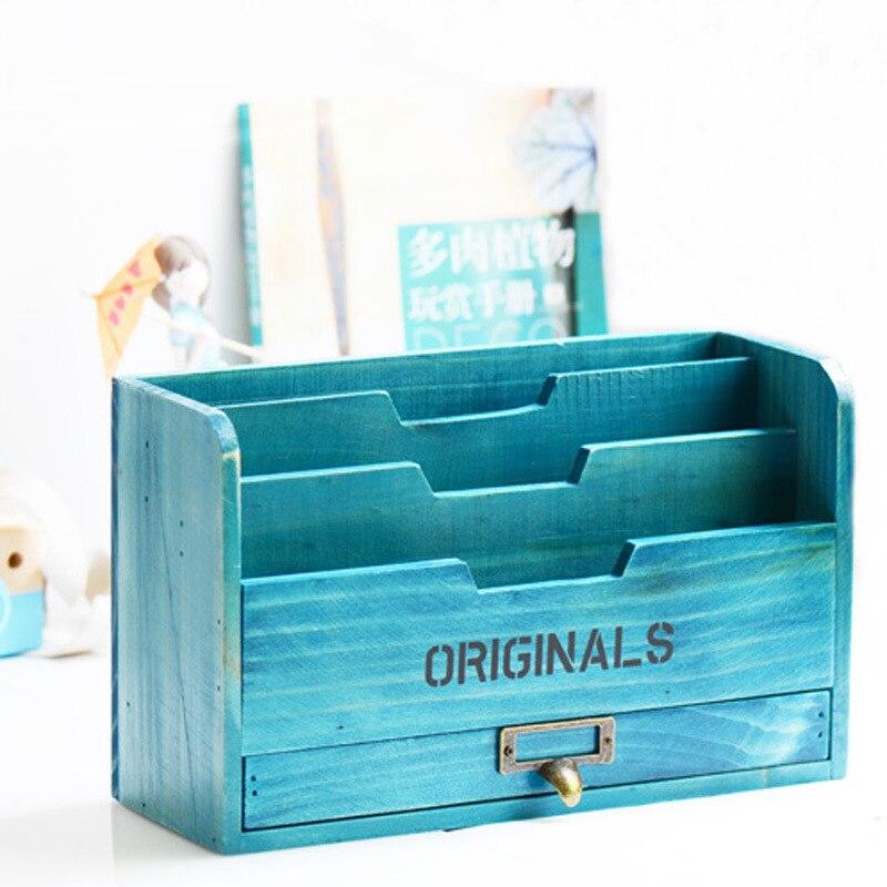 Vintage en bois stockage Rack ornements articles divers boîte de rangement bureau artisanat livre fichier dossier de stockage maison salon décor cadeaux
