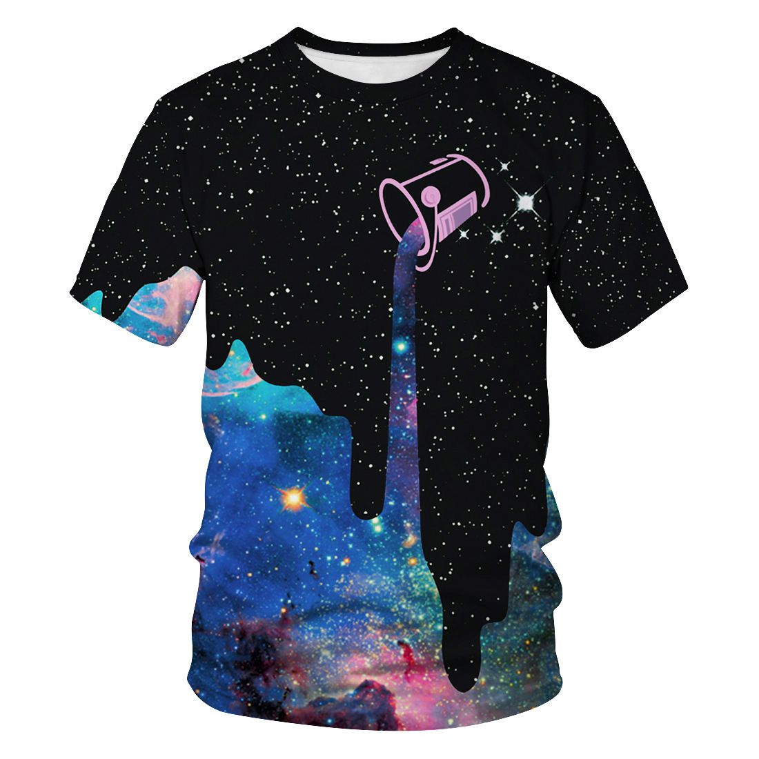 LASPERAL Galaxy Space T-shirt Casual Short Sleeve Couple Tee Shirt Classics Starry Sky Clothes Psychedelic Sky Fashion Women Top