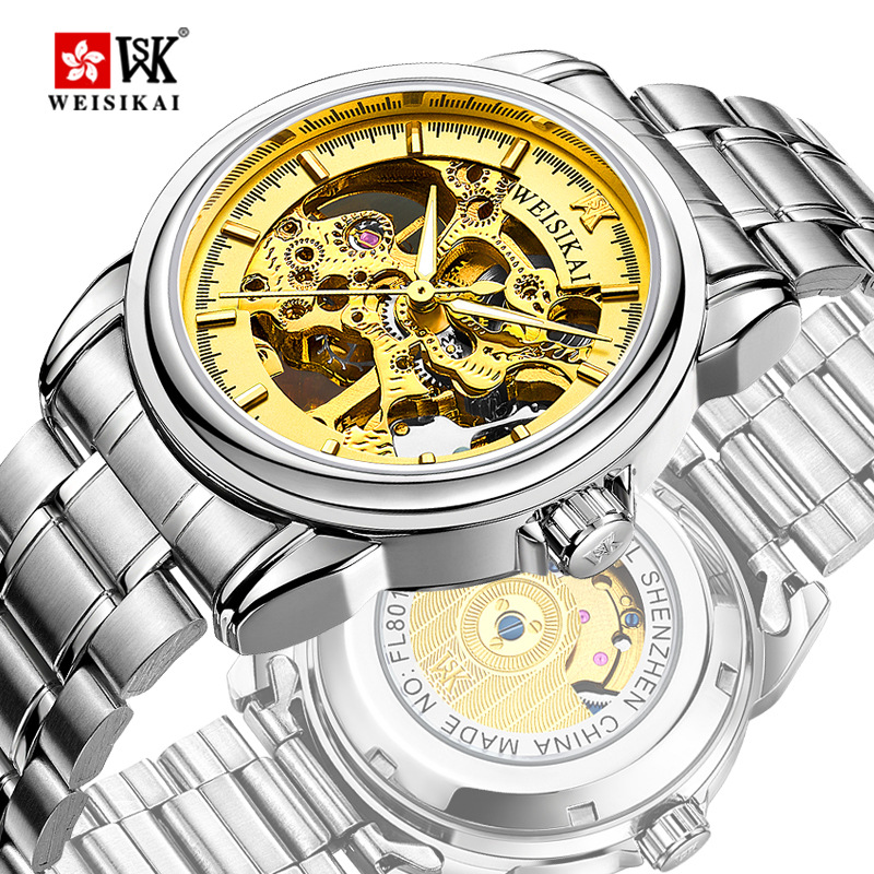Top Brand WEISIKAI Automatic Mechanical Hollow Military Movement Men's Watch Luminous Luxury Quality Gifts Wristwatch Montres