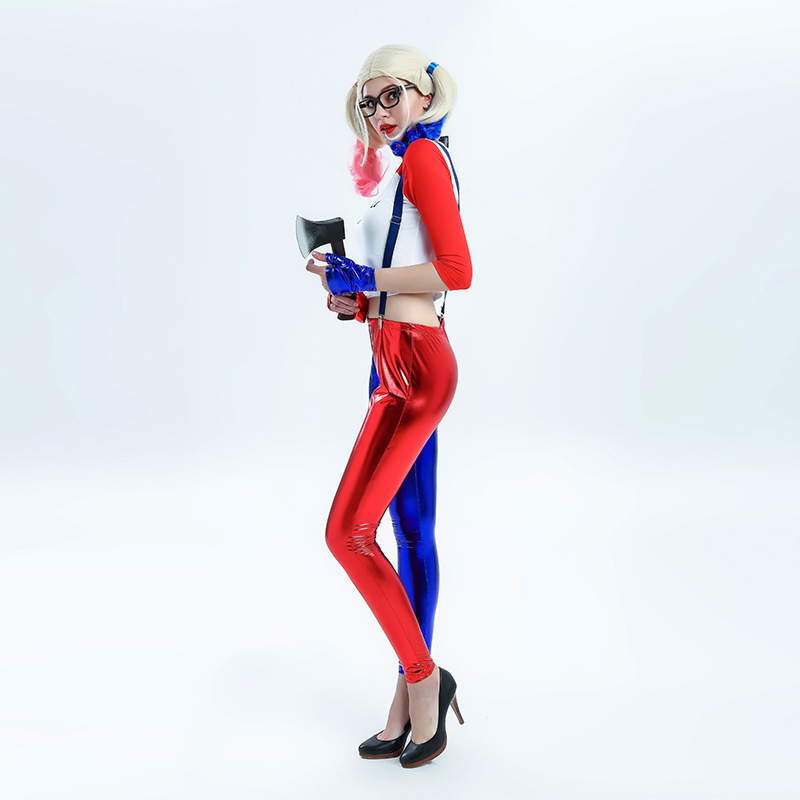 Harley Quinn Costume Women Sexy Anime Cosplay Shirt Suspenders Trousers Suicide Squad Top Pants Girl Zentai Female Fantasy Adult