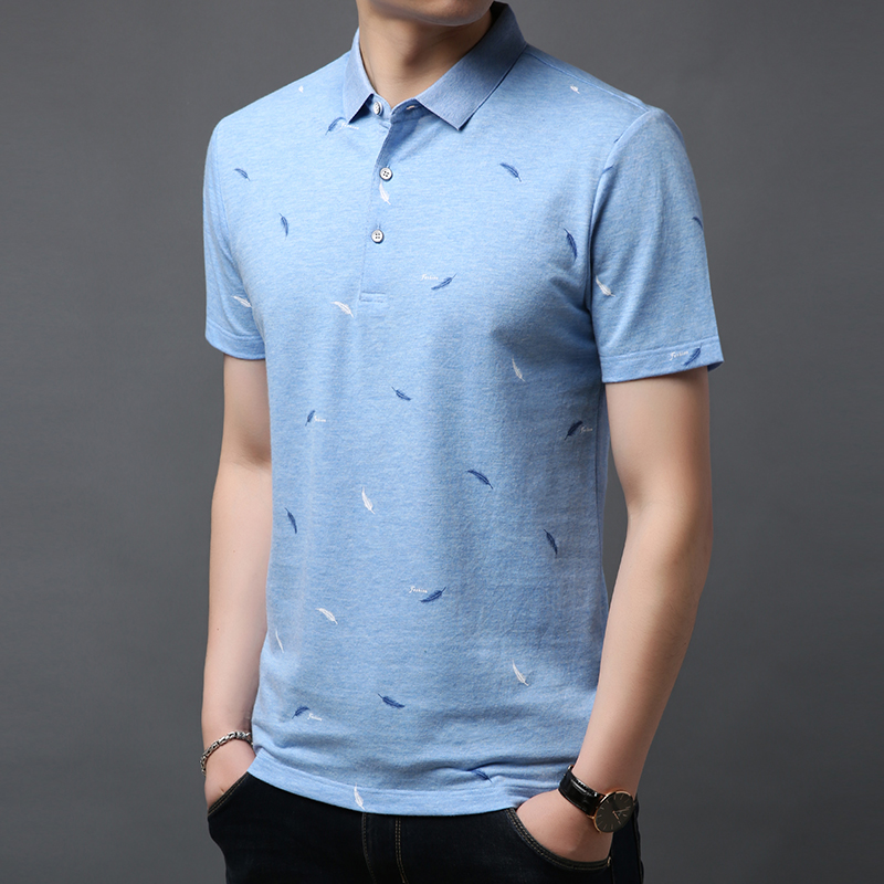 6411e4464 Men Short Sleeve T Shirt turn down Collar tshirt Summer 2019 new casual  Lapel T-shirt cotton tshirts Tops Tees ~ Perfect Deal July 2019