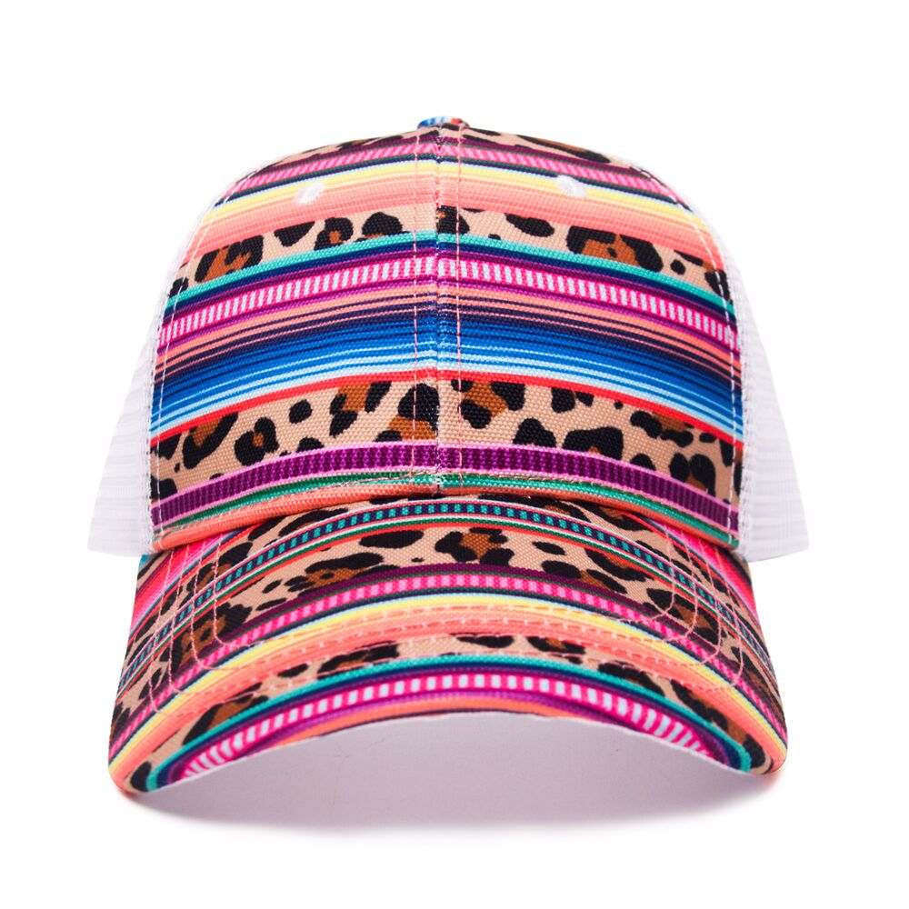 Audlt Serape Leopard Mesh Hat With Adjustable Buckle Wholesale Blanks Cheetah Sun Hat DOM1061116 product of the year