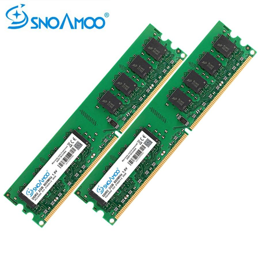 SNOAMOO escritorio carneros DDR2 4 GB (2x2 GB) 800 MHz PC2-6400S 240-Pin 1,8 V DIMM para intel y AMD ordenador Compatible garantía de memoria