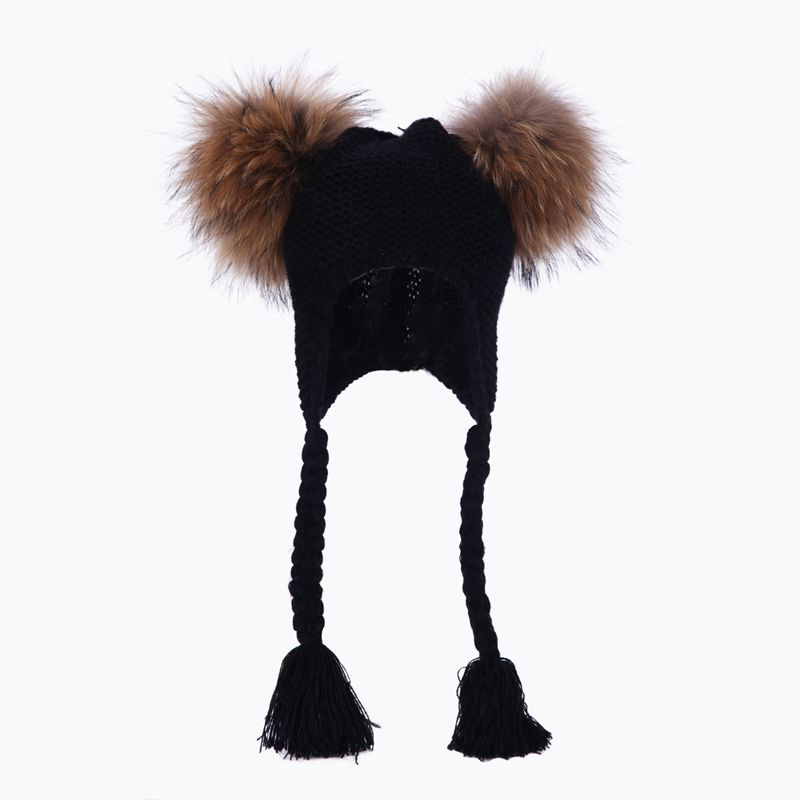 2-7 Years Old Baby Winter Real Fur Ball   Beanie   Knit Hat Kids Warm Raccoon Fur Pom Poms   Skullies     Beanies   Wool Cap