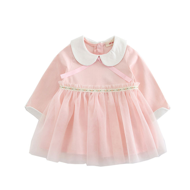 38bfebe51 2019 Spring Baby Party Dress For Girls Peter Pan Collar Wedding Kids ...