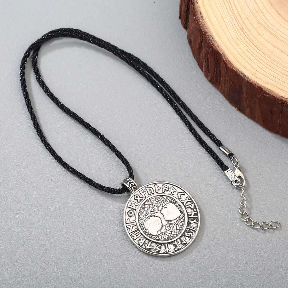 CHENGXUN Nordic wikingów Runes Amulet wisiorek naszyjnik drzewo życia Runes wisiorek naszyjnik Nordic talizman dla chłopców prezent