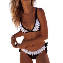 Женский купальник пуш-ап, женский сексуальный кружевной черный бикини, пляжные вечерние бикини для женщин, Солнцезащитный купальник размера плюс 18J10