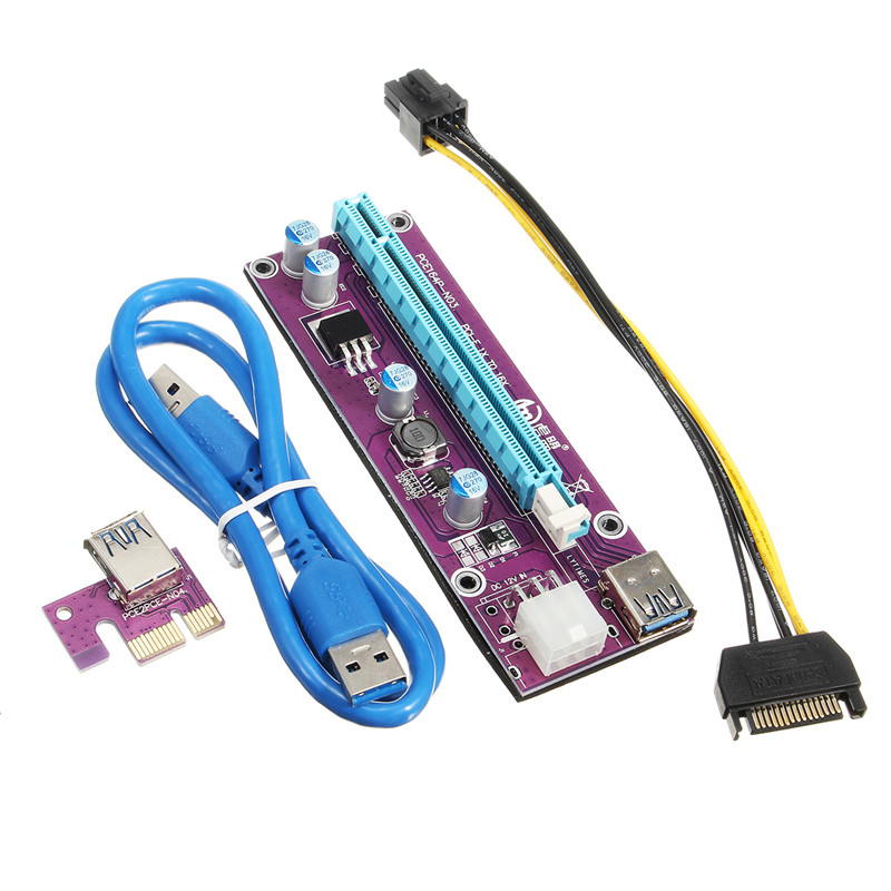 USB 3.0 PCI-E Express Riser Card 1x to 16x Extender Riser Card Adapter 60cm SATA Power Cable For Bitcoin Miner Mining usb 3 0 pci e express 1x to 16x extender riser card adapter with 15pin to 4pin power sata cable for btc bitcoin mining device