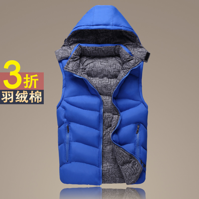2017 male qiu dong Upset down cotton vest Pure color fashion hooded vest