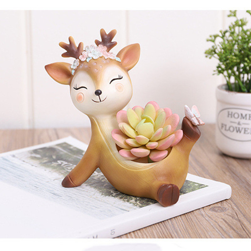 Image 4 - 2019 Flower Pot Home Decoration Accessories Figurines Succulent Plant Pots Balcony Modern Multi Deer Animal Resin Crafts-in Flower Pots & Planters from Home & Garden