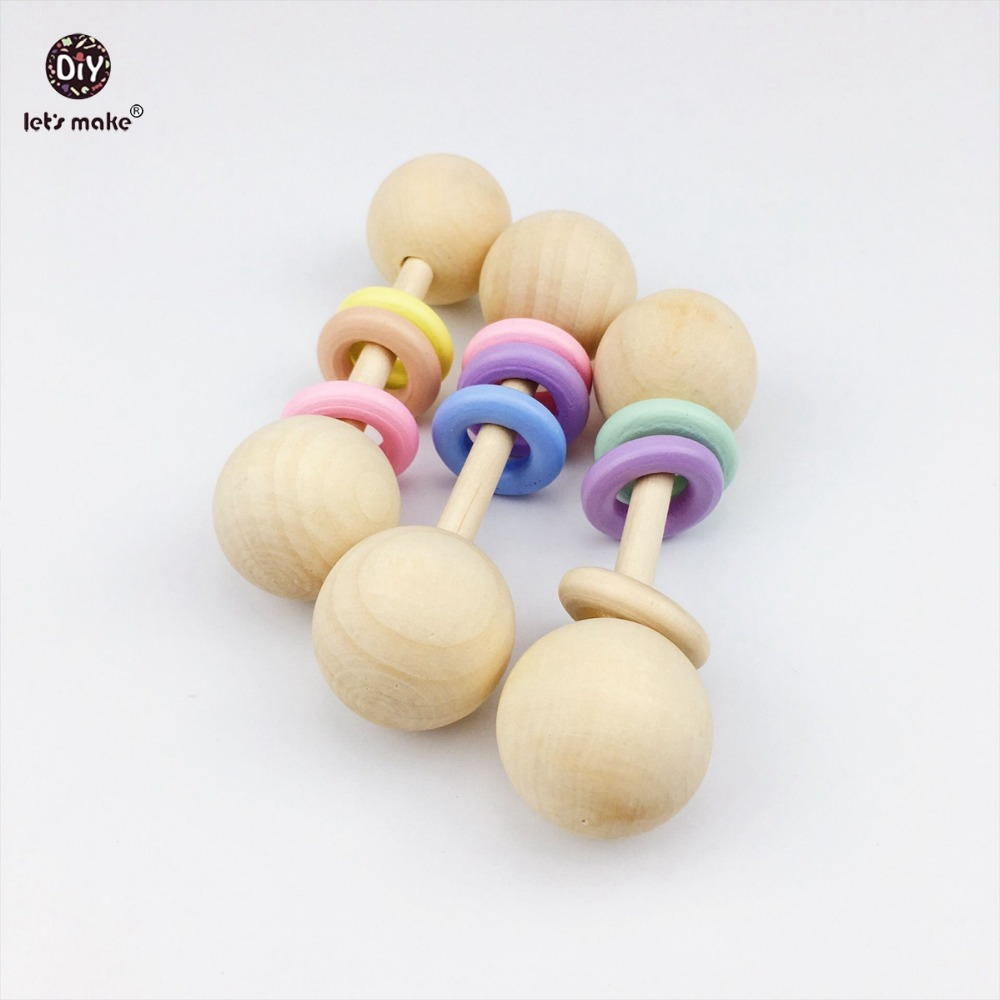 Let's Make Baby Play Gym Rattles 12pc Teething Wooden Ring Baby Teether Chew Montessori Stroller Toy Pram Shower Gifts Baby Toys
