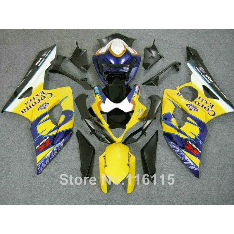 Injection molding plastic fairings for SUZUKI GSXR1000 2005 2006 yellow blue Corona fairing kit GSXR 1000 05 06 K5 K6 CP31 abs full fairing kit for suzuki injection molding k5 gsxr1000 2005 2006 red flames black fairings set gsxr 1000 05 06 yq67 cowl