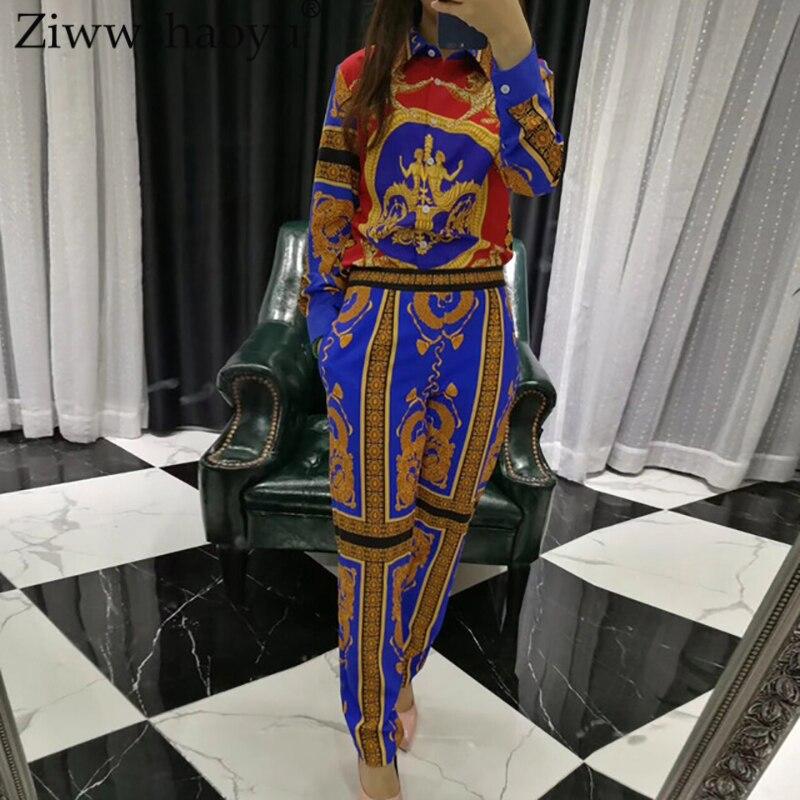 Ziwwshaoyu 2018 nouveau costume de mode designer définit les femmes à manches longues chemise à motifs imprimé Vintage pleine longueur pantalon ensemble