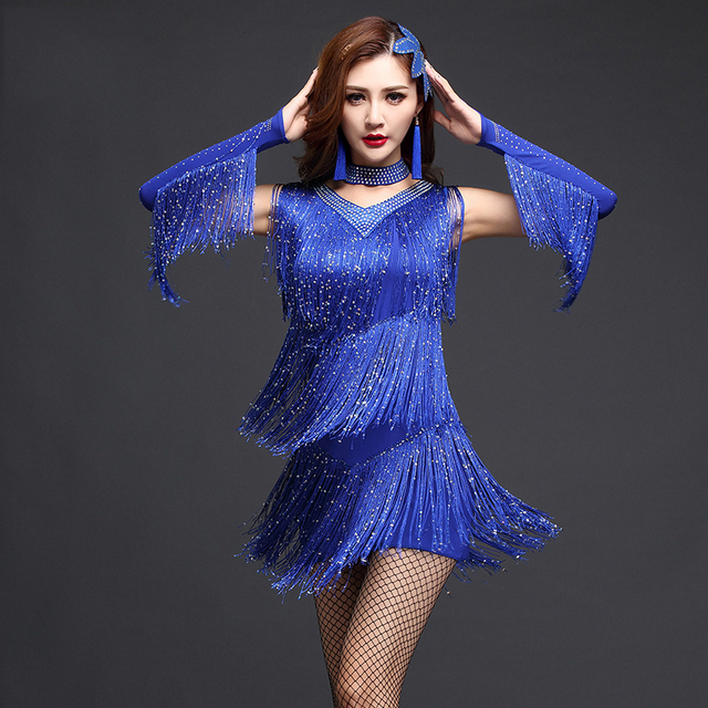 Ropa de baile latino para mujer señora rendimiento falda Latina Cha  cha Rumba  d4ac575f794