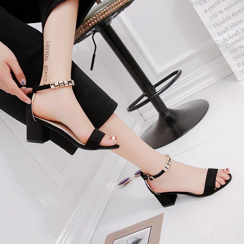 HTB1TugdinJYBeNjy1zeq6yhzVXaA metal String Bead Summer Women Sandals Open Toe shoes Women's Sandles Square heel Women Shoes Korean Style Gladiator Shoes m668