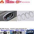 Бесплатная доставка стайлинга автомобилей стик отделка ABS chrome двери внутренний встроенный ручка чаши кадров лампы 4 шт. Renault Captur 2015 2016