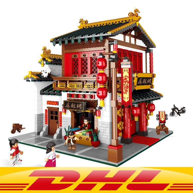DHL YILE 01001 Bloc 2787 pcs Chinois Style Le Chinois Soie et Satin Magasin Ensemble Blocs de Construction Briques Jouets Modèle lepin bloc