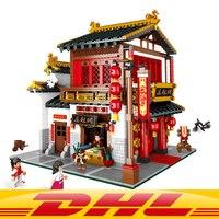 DHL YILE 01001 Block 2787Pcs Chinese Style The Chinese Silk and Satin Store Set Building Blocks Bricks Toys Model Lepin block